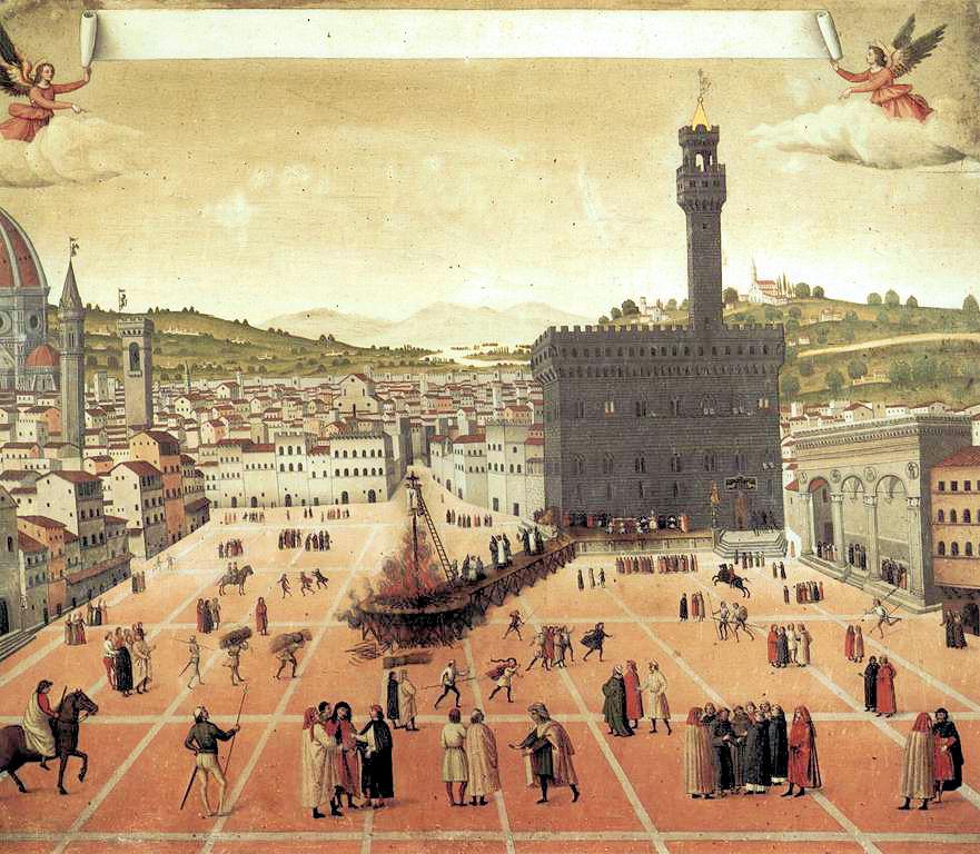 The murder of Girolamo Savonarola in the medieval Piazza della Signoria of Florence